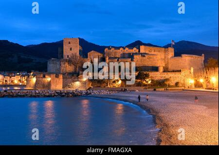 France, Pyrenees Orientales, Collioure, the Royal castle dated XIIIth century - Stock Photo