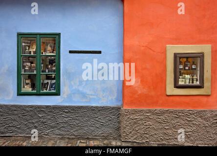 'Detail' from the 'Golden Lane' in the Prague Castle, Prague, Czech Republic. - Stock Photo
