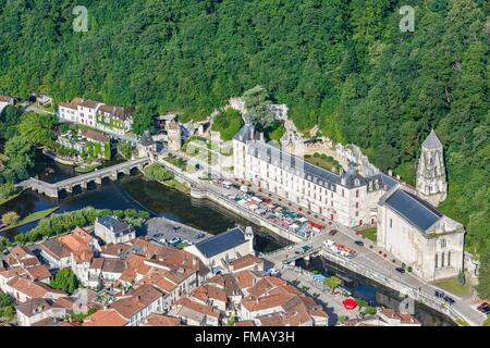 France, Dordogne, Brantome, Saint Pierre abbey (aerial view) - Stock Photo