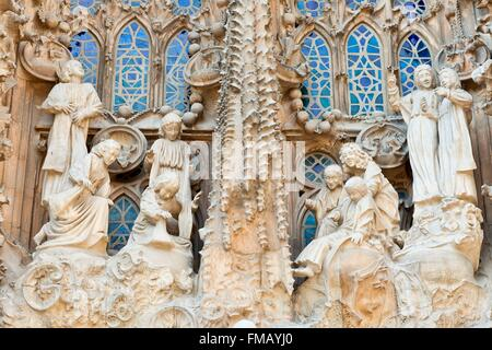 Spain, Catalonia, Barcelona, Sagrada Familia Cathedral listed as World Heritage by UNESCO - Stock Photo