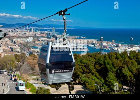 Spain, Catalonia, Barcelona, Montjuic Aerial Tram - Stock Photo