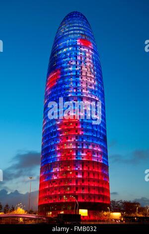 Spain, Catalonia, Barcelona, Torre Agbar (Agbar Tower) - Stock Photo