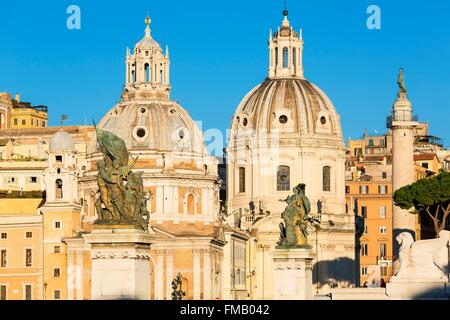 Italy, Lazio, Rome, historical center listed as World Heritage by UNESCO, the Trajan's column and the cupolas of - Stock Photo