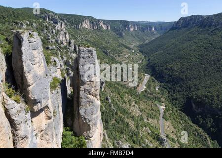 France, Lozere, Le Rozier, the Jonte gorges view from the Balcon du Vertige, the Causses and the Cevennes, Mediterranean - Stock Photo