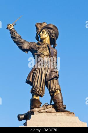 France, Nord, Dunkirk, statue of Jean Bart on Place Jean Bart, the famous French corsair born in Dunkirk - Stock Photo
