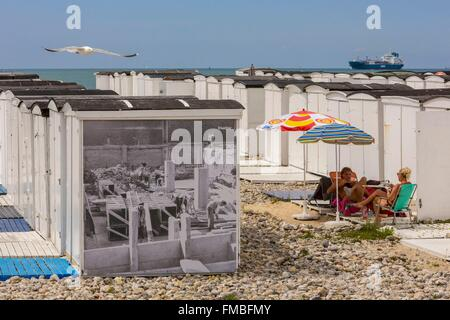 France, Seine Maritime, Le Havre, the beach huts - Stock Photo
