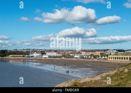 Whitmore Bay, a popular beach and tourist and visitor resort on Barry Island, south Wales - Stock Photo