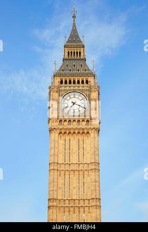 Big Ben in London, blue sky - Stock Photo