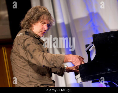 English keyboard player Keith Emerson plays the piano as he receives the Frankfurt Music Prize 2010 in Frankfurt - Stock Photo