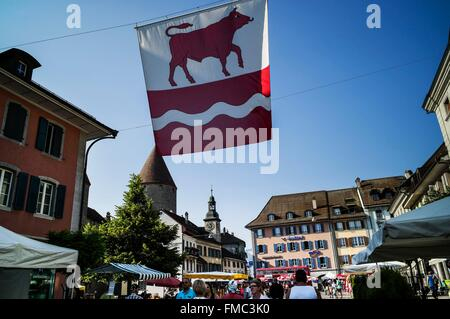Switzerland, Canton of Fribourg, Bulle, city market day - Stock Photo