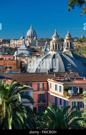 Italy, Lazio, Rome, historical center listed as World Heritage by UNESCO, Piazza del Popolo, Saint Peter's Cupula - Stock Photo