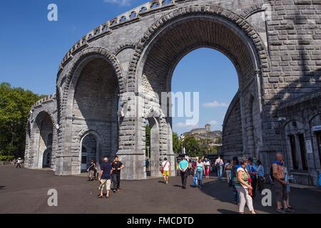 France, Hautes Pyrenees, Lourdes, Sanctuary of Our Lady of Lourdes - Stock Photo