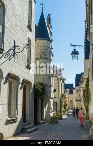 France, Indre et Loire, Loire valley listed as World Heritage by UNESCO, Chinon, the alleys at the foot of the fortress, - Stock Photo