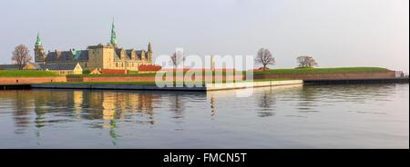 Traveling in the famous Kronborg Castle, Copenhagen around Autumn season - Stock Photo