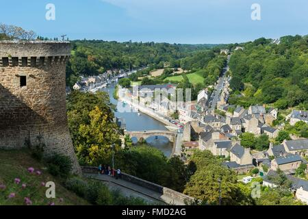 France, Cotes d'Armor, Dinan, panoramic view from the castle walls, view over Dinan harbour and Rance river - Stock Photo