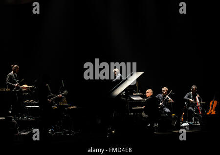 Brighton, UK. Friday 11th March 2016. Ludovico Einaudi, Italian pianist and composer, performs live at Brighton - Stock Photo
