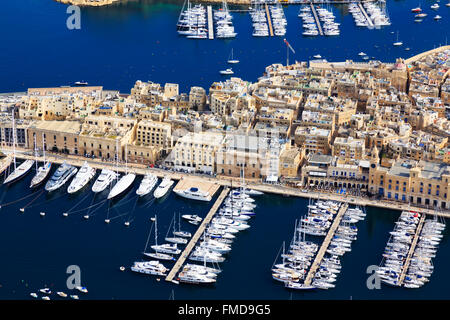 Aerial view yachts moored at Fort Saint Angelo, Valletta, Malta - Stock Photo