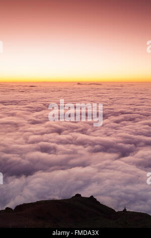Passat clouds at sunset, cloud cover over Teide National Park, Tenerife, Canary Islands, Spain - Stock Photo