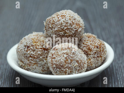 Super Fruit Healthy Nut And Dried Fruit Snack Ball With Coconut - Stock Photo