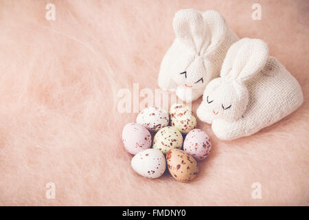 Easter bunny and eggs copy space background, toning - Stock Photo