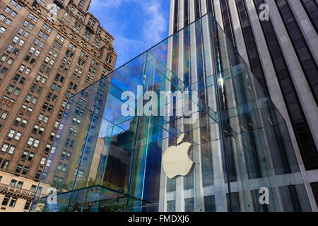 NEW YORK CITY, SEP 16: The famous Apply Store on SEP 15, 2014 at New York City. - Stock Photo