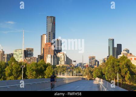 Skyline from William Barak Bridge, Melbourne, Victoria, Australia - Stock Photo