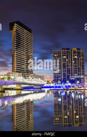 Yarra's Edge harbour and Webb Bridge at dawn, Melbourne, Victoria, Australia - Stock Photo