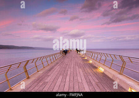 Pier at sunset, Lorne, Great Ocean Road, Victoria, Australia - Stock Photo