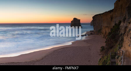 Beach at Gibson Steps at sunset, Port Campbell National Park, Great Ocean Road, Victoria, Australia - Stock Photo