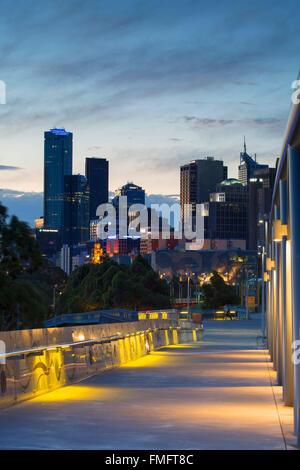Skyline from William Barak Bridge at dusk, Melbourne, Victoria, Australia - Stock Photo