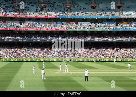 Cricket match at Melbourne Cricket Ground (MCG), Melbourne, Victoria, Australia - Stock Photo