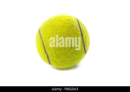 Single tennis ball isolated on white background - Stock Photo