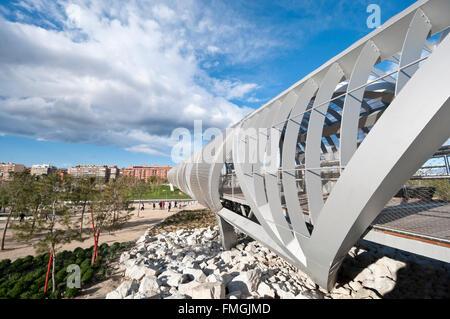 Arganzuela Bridge in Madrid Rio Park, Madrid, Spain - Stock Photo