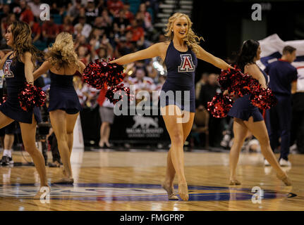 Las Vegas, NV, USA. 11th Mar, 2016. Arizona Cheerleaders during the NCAA Pac 12 Men's Basketball Tournament between - Stock Photo