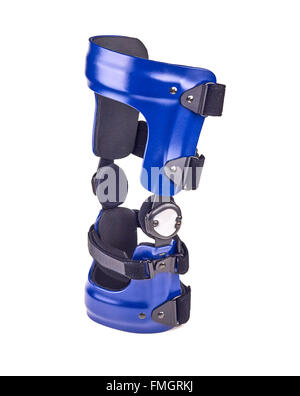 Blue rigged knee brace isolated over white. - Stock Photo