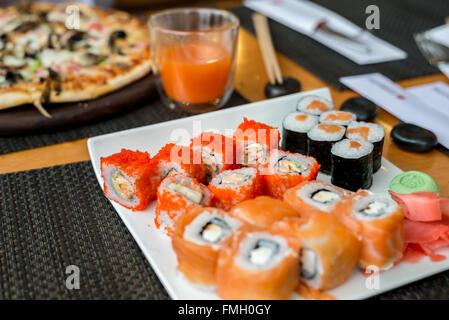 Sushi set with seafood, Japanese kitchen - Stock Photo