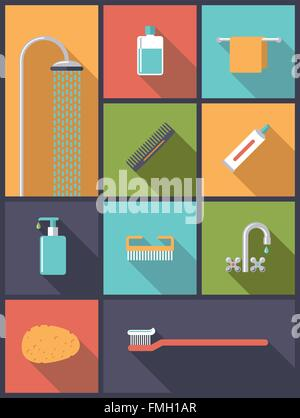 Flat design illustration with various body care icons - Stock Photo