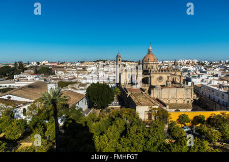 Cathedral and city skyline, Jerez de la Frontera, Andalusia, Spain - Stock Photo