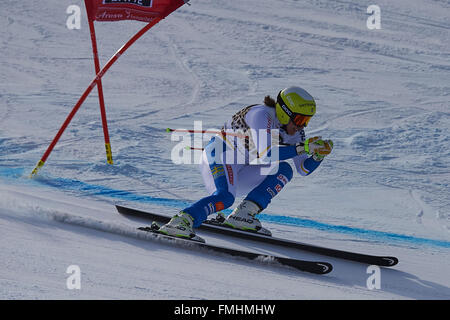 Lenzerheide, Switzerland. 12th March, 2016. Kajsa Kling (SWE) during her run in the Ladies' Super G at the Audi - Stock Photo