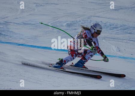 Lenzerheide, Switzerland. 12th March, 2016. Tamara Tippler (AUT) during her run in the Ladies' Super G at the Audi - Stock Photo