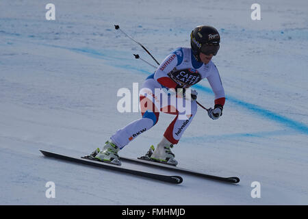 Lenzerheide, Switzerland. 12th March, 2016. Lara Gut (SUI) during her run in the Ladies' Super G at the Audi FIS - Stock Photo