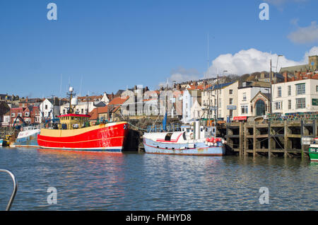View of boats in Scarborough Harbour, North Yorkshire UK - Stock Photo