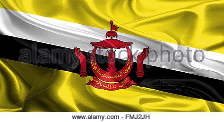 Waving Fabric Flag of Brunei - Stock Photo