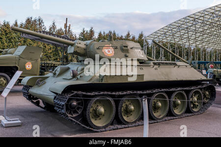 MOSCOW, RUSSIA- OCTOBER 7- T-34- Medium tank (USSR) in the Central Museum of the Great Patriotic War on October - Stock Photo