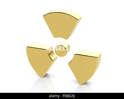Golden radiation symbol on a white background. - Stock Photo