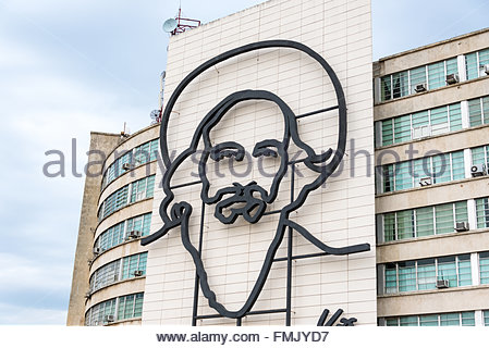 Havana, Cuba: Camilo Cienfuegos  architectural design on Ministry of Communications building at Revolution Square. - Stock Photo