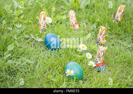 Little Wrapped Chocolate Bunnies with Easter Eggs and Daisy Flowers in the Grass - Stock Photo