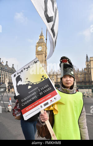 Westminster, London, UK. 12th March 2016. Bruce Kent, CND. Fifth Fukushima Anniversary. An anti nuclear protest - Stock Photo