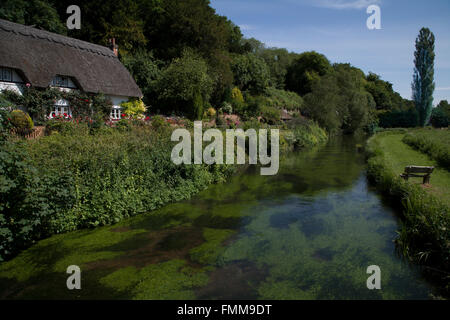 Thatched Cottage beside the River Test, Wherwell, Hampshire, England. - Stock Photo