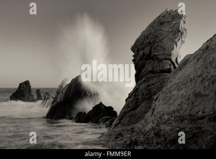 Crashing wave . Corona Del Mar. California - Stock Photo